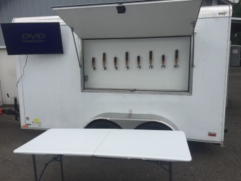 8 tap keg trailer with television display and serving table (2 available)