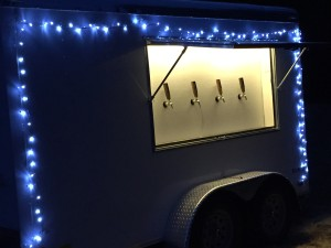 Cool white lights provide a brilliant light to the keg trailer.